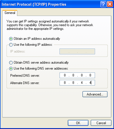 Change to google public DNS servers for IPv6 and ipv4 in Windows