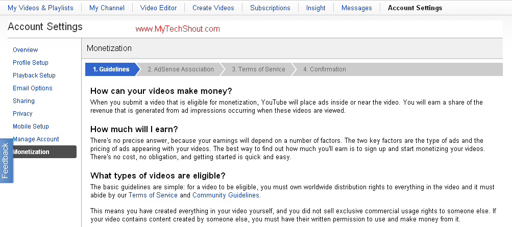 Make Money with Adsense in Youtube without youtube partnership