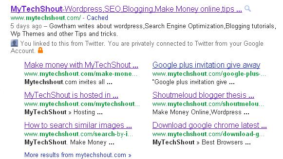 MyTechShout got its Google sitelinks Today