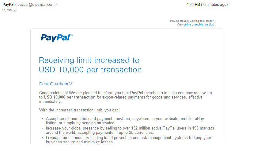 PayPal increases Receiving limits To USD 10,000 For Indian Merchants