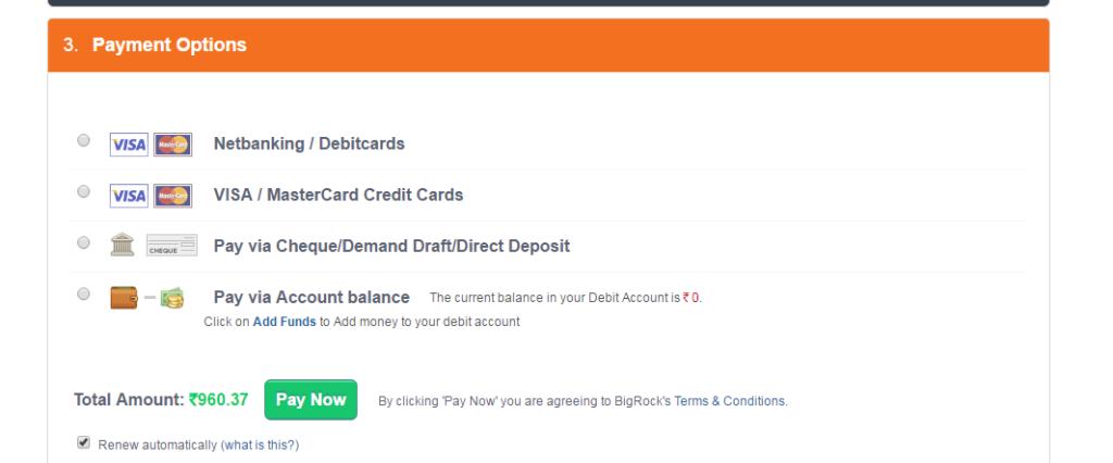 Bigrock coupon code for .com domain