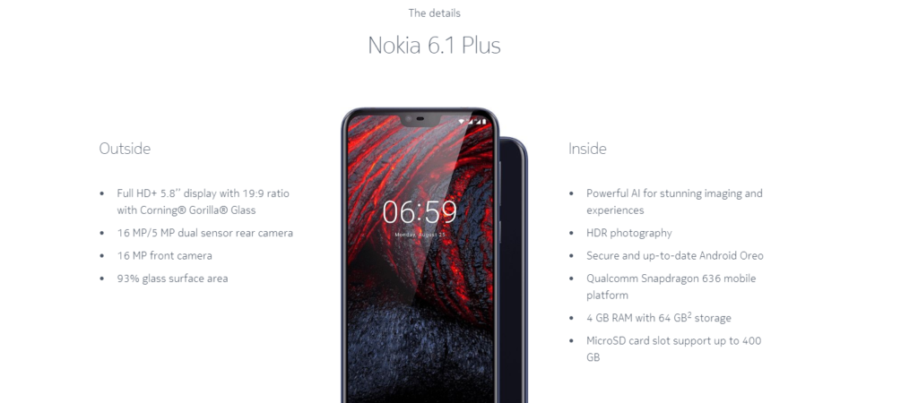 Nokia 6.1 plus android p